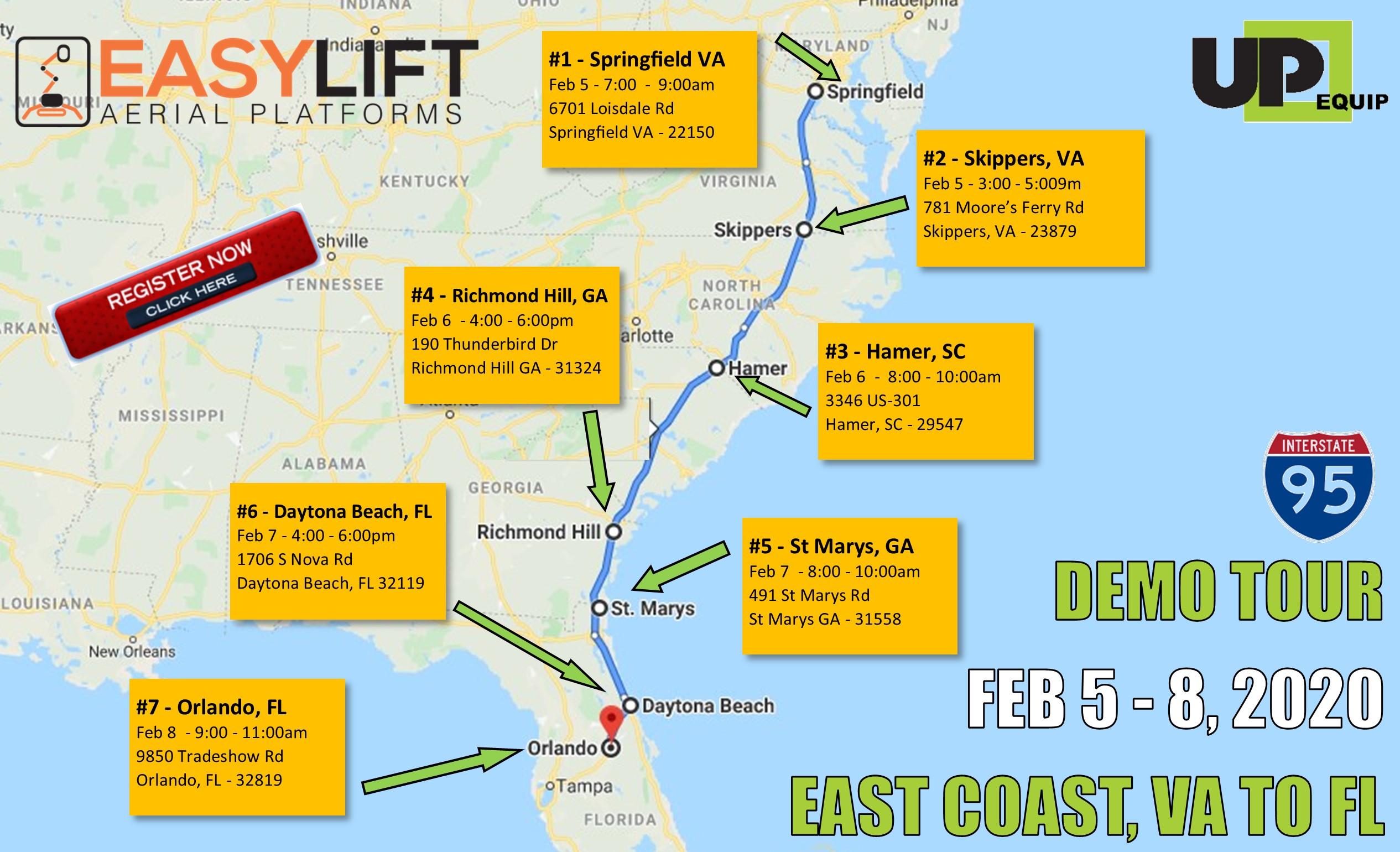 Demo Tour from Virginia to Florida